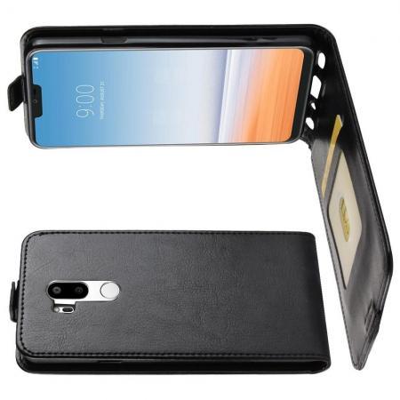 Вертикальный флип чехол книжка с откидыванием вниз для LG G7 ThinQ - Черный