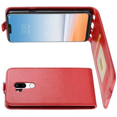 Вертикальный флип чехол книжка с откидыванием вниз для LG G7 ThinQ - Красный