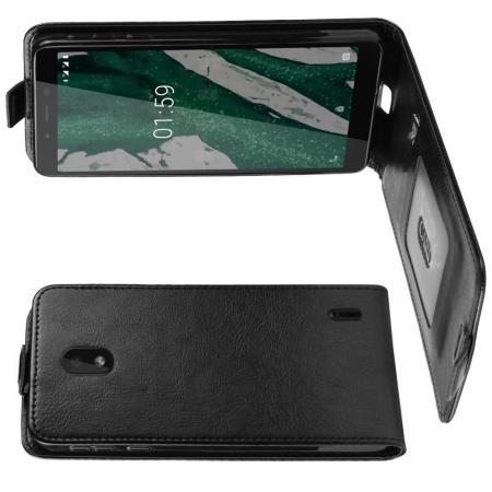 Вертикальный флип чехол книжка с откидыванием вниз для Nokia 1 Plus - Черный