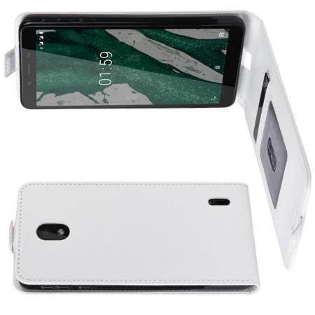 Вертикальный флип чехол книжка с откидыванием вниз для Nokia 1 Plus - Белый