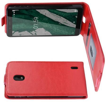 Вертикальный флип чехол книжка с откидыванием вниз для Nokia 1 Plus - Красный