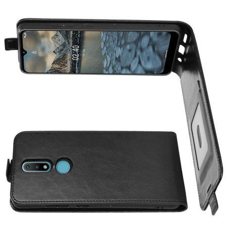 Вертикальный флип чехол книжка с откидыванием вниз для Nokia 2.4 - Черный