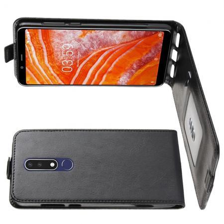 Вертикальный флип чехол книжка с откидыванием вниз для Nokia 3.1 Plus - Черный
