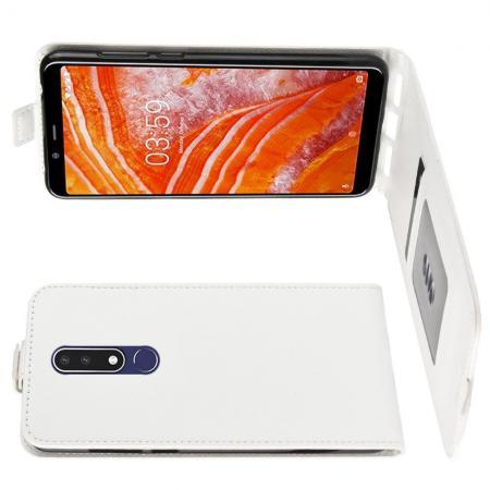 Вертикальный флип чехол книжка с откидыванием вниз для Nokia 3.1 Plus - Белый