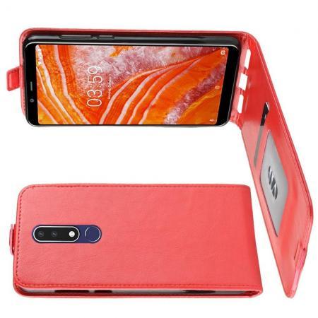 Вертикальный флип чехол книжка с откидыванием вниз для Nokia 3.1 Plus - Красный