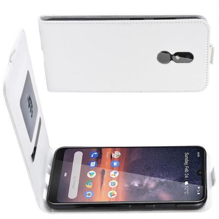 Вертикальный флип чехол книжка с откидыванием вниз для Nokia 3.2 - Белый