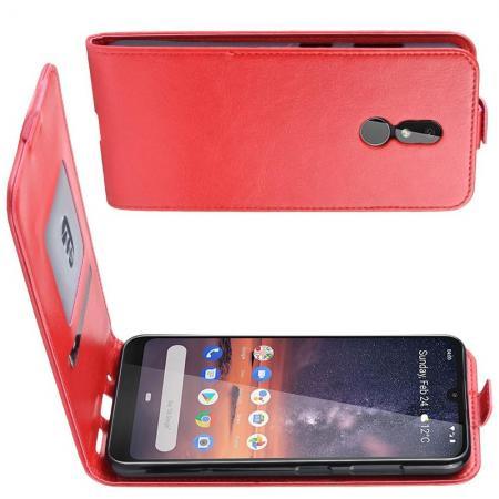Вертикальный флип чехол книжка с откидыванием вниз для Nokia 3.2 - Красный