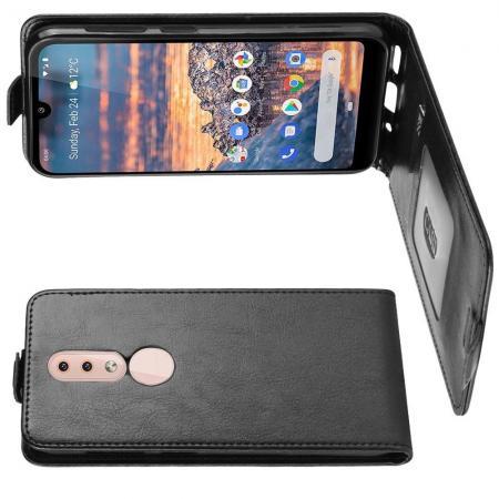 Вертикальный флип чехол книжка с откидыванием вниз для Nokia 4.2 - Черный