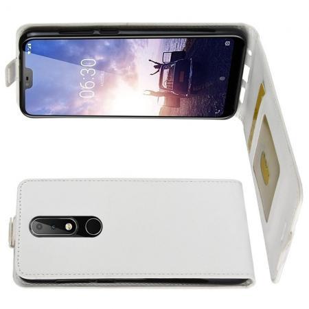Вертикальный флип чехол книжка с откидыванием вниз для Nokia 5.1 Plus - Белый