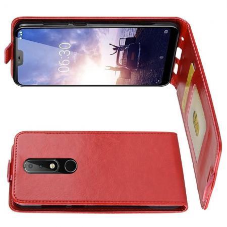 Вертикальный флип чехол книжка с откидыванием вниз для Nokia 5.1 Plus - Красный