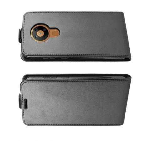 Вертикальный флип чехол книжка с откидыванием вниз для Nokia 5.3 - Черный