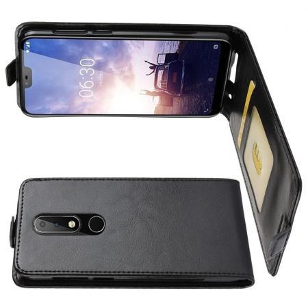 Вертикальный флип чехол книжка с откидыванием вниз для Nokia 6.1 Plus - Черный