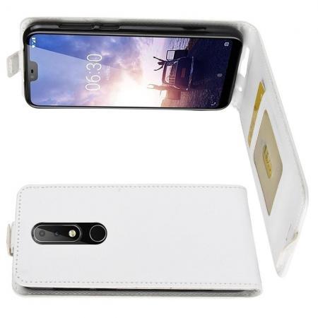 Вертикальный флип чехол книжка с откидыванием вниз для Nokia 6.1 Plus - Белый