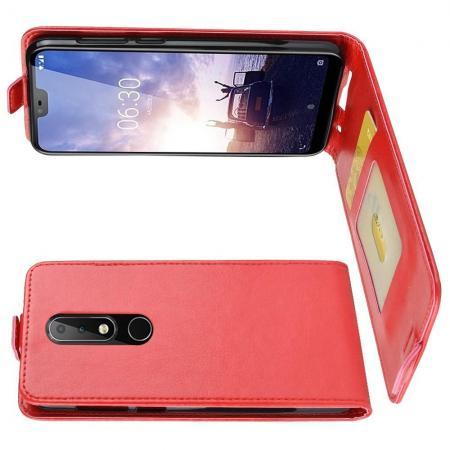 Вертикальный флип чехол книжка с откидыванием вниз для Nokia 6.1 Plus - Красный