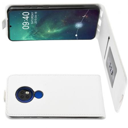 Вертикальный флип чехол книжка с откидыванием вниз для Nokia 6.2 - Белый