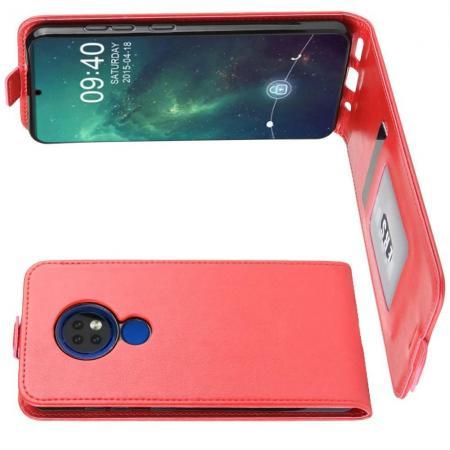 Вертикальный флип чехол книжка с откидыванием вниз для Nokia 6.2 - Красный