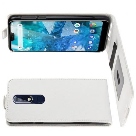 Вертикальный флип чехол книжка с откидыванием вниз для Nokia 7.1 - Белый