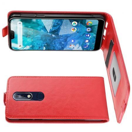Вертикальный флип чехол книжка с откидыванием вниз для Nokia 7.1 - Красный