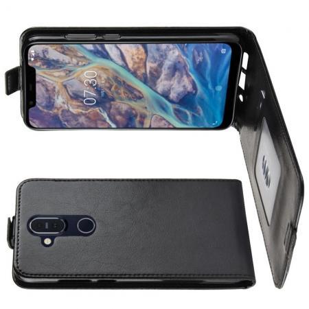 Вертикальный флип чехол книжка с откидыванием вниз для Nokia 8.1 - Черный