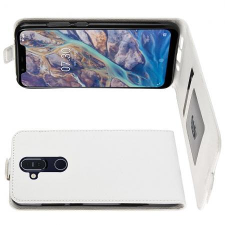 Вертикальный флип чехол книжка с откидыванием вниз для Nokia 8.1 - Белый