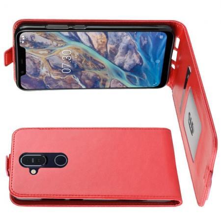 Вертикальный флип чехол книжка с откидыванием вниз для Nokia 8.1 - Красный