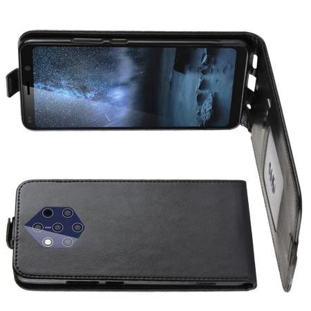 Вертикальный флип чехол книжка с откидыванием вниз для Nokia 9 PureView - Черный