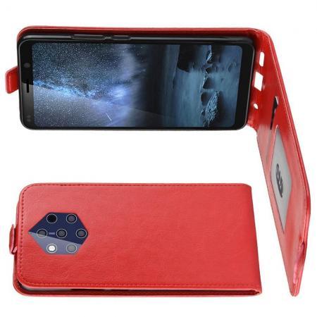 Вертикальный флип чехол книжка с откидыванием вниз для Nokia 9 PureView - Красный