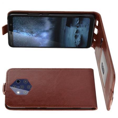 Вертикальный флип чехол книжка с откидыванием вниз для Nokia 9 PureView - Коричневый