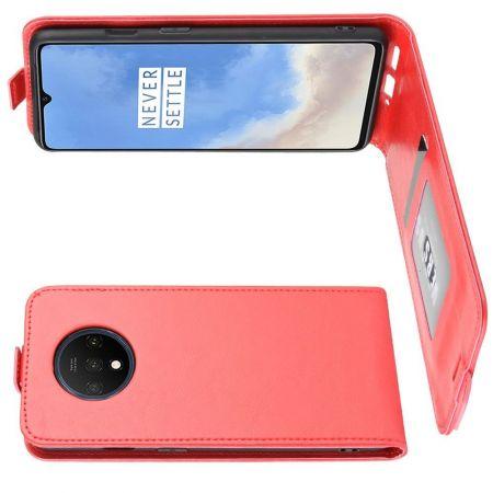 Вертикальный флип чехол книжка с откидыванием вниз для OnePlus 7T - Красный
