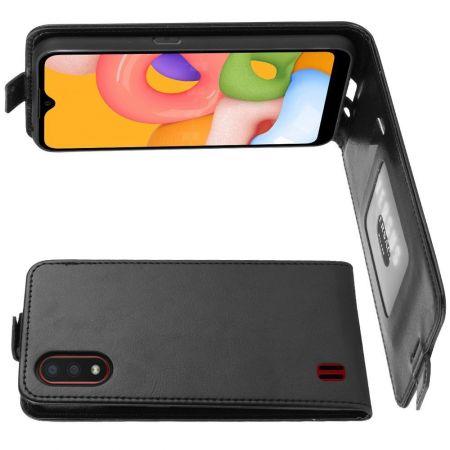 Вертикальный флип чехол книжка с откидыванием вниз для Samsung Galaxy A01 - Черный
