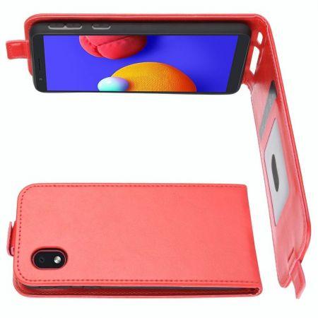 Вертикальный флип чехол книжка с откидыванием вниз для Samsung Galaxy A01 Core - Красный