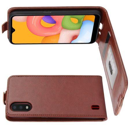 Вертикальный флип чехол книжка с откидыванием вниз для Samsung Galaxy A01 - Коричневый