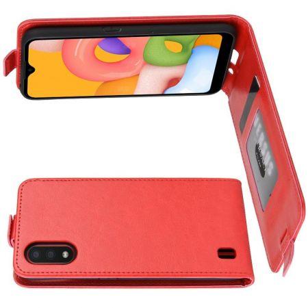 Вертикальный флип чехол книжка с откидыванием вниз для Samsung Galaxy A01 - Красный