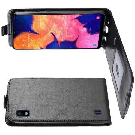 Вертикальный флип чехол книжка с откидыванием вниз для Samsung Galaxy A10 - Черный