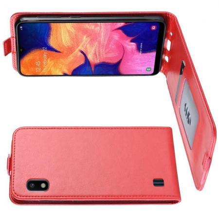 Вертикальный флип чехол книжка с откидыванием вниз для Samsung Galaxy A10 - Красный