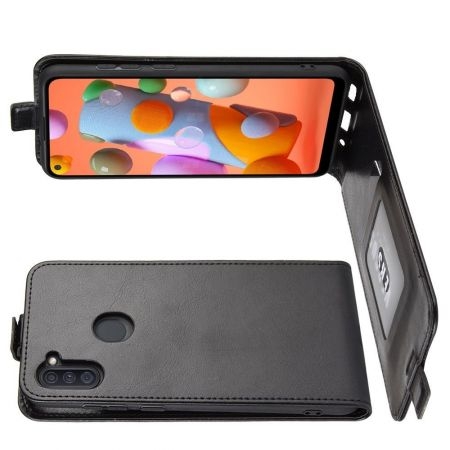 Вертикальный флип чехол книжка с откидыванием вниз для Samsung Galaxy A11 - Черный