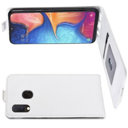 Вертикальный флип чехол книжка с откидыванием вниз для Samsung Galaxy A20e - Белый