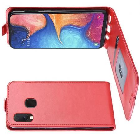 Вертикальный флип чехол книжка с откидыванием вниз для Samsung Galaxy A20e - Красный