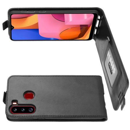 Вертикальный флип чехол книжка с откидыванием вниз для Samsung Galaxy A21 - Черный
