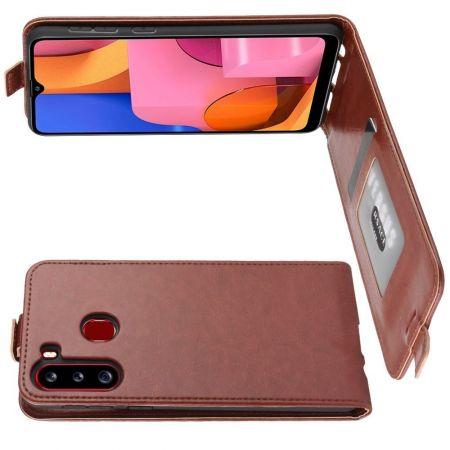 Вертикальный флип чехол книжка с откидыванием вниз для Samsung Galaxy A21 - Коричневый