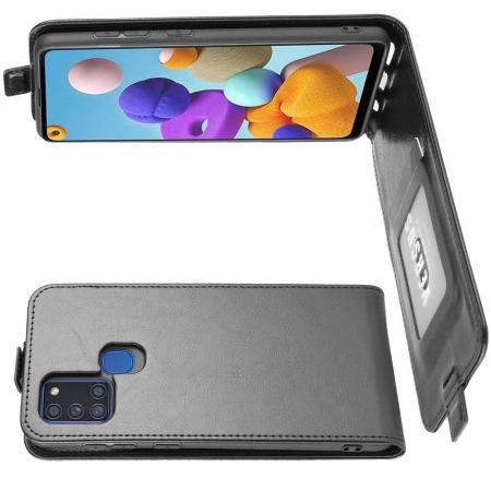 Вертикальный флип чехол книжка с откидыванием вниз для Samsung Galaxy A21s - Черный