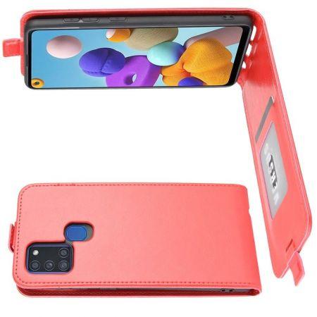 Вертикальный флип чехол книжка с откидыванием вниз для Samsung Galaxy A21s - Красный