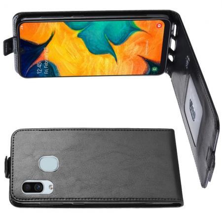 Вертикальный флип чехол книжка с откидыванием вниз для Samsung Galaxy A30 / A20 - Черный