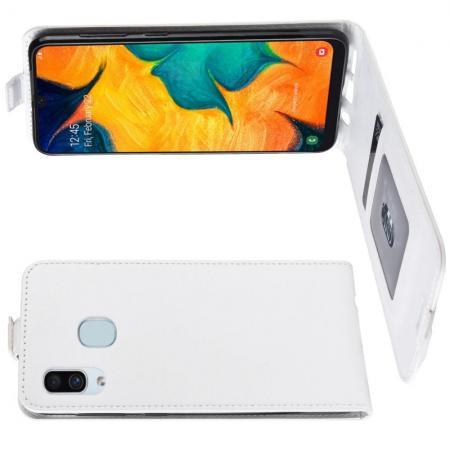 Вертикальный флип чехол книжка с откидыванием вниз для Samsung Galaxy A30 / A20 - Белый