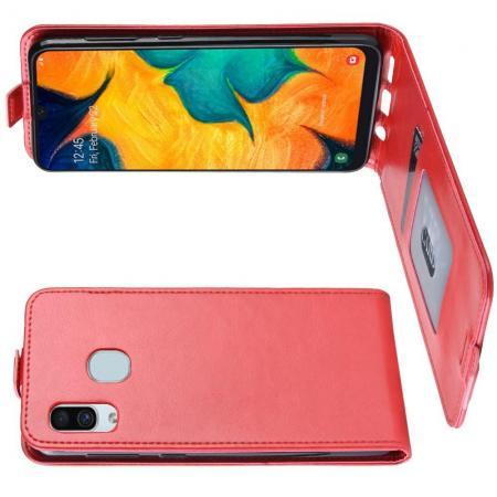 Вертикальный флип чехол книжка с откидыванием вниз для Samsung Galaxy A30 / A20 - Красный