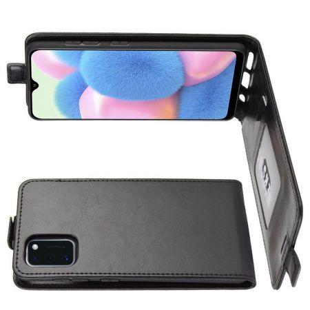 Вертикальный флип чехол книжка с откидыванием вниз для Samsung Galaxy A41 - Черный