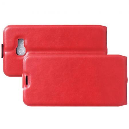 Вертикальный флип чехол книжка с откидыванием вниз для Samsung Galaxy A5 2017 SM-A520F - Красный
