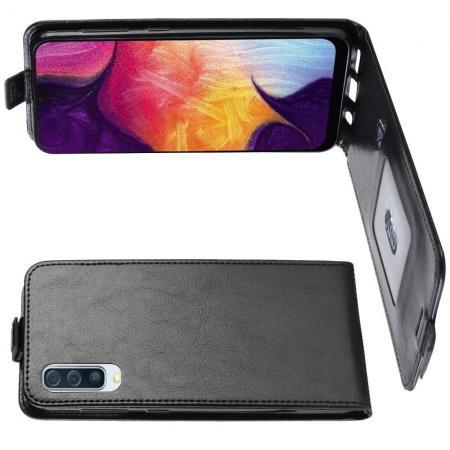 Вертикальный флип чехол книжка с откидыванием вниз для Samsung Galaxy A50 - Черный