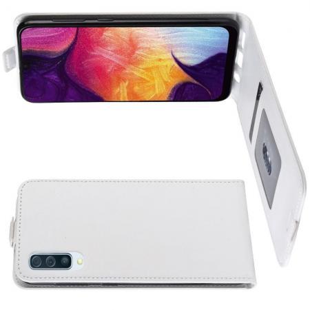 Вертикальный флип чехол книжка с откидыванием вниз для Samsung Galaxy A50 - Белый