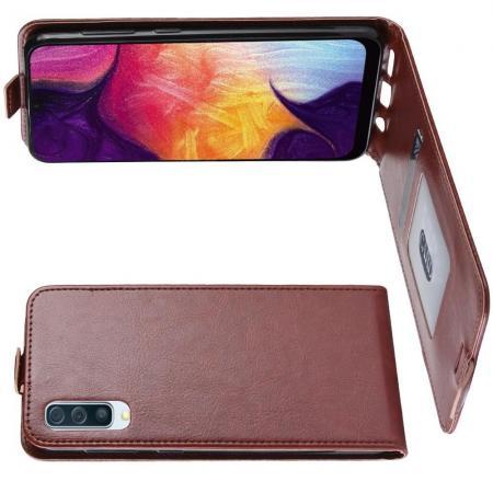 Вертикальный флип чехол книжка с откидыванием вниз для Samsung Galaxy A50 - Коричневый